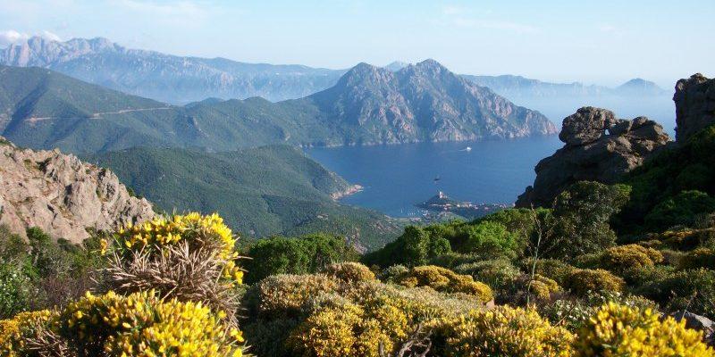 Girolata Corsica Frankrijk maquis Genuese toren baai zee bergen