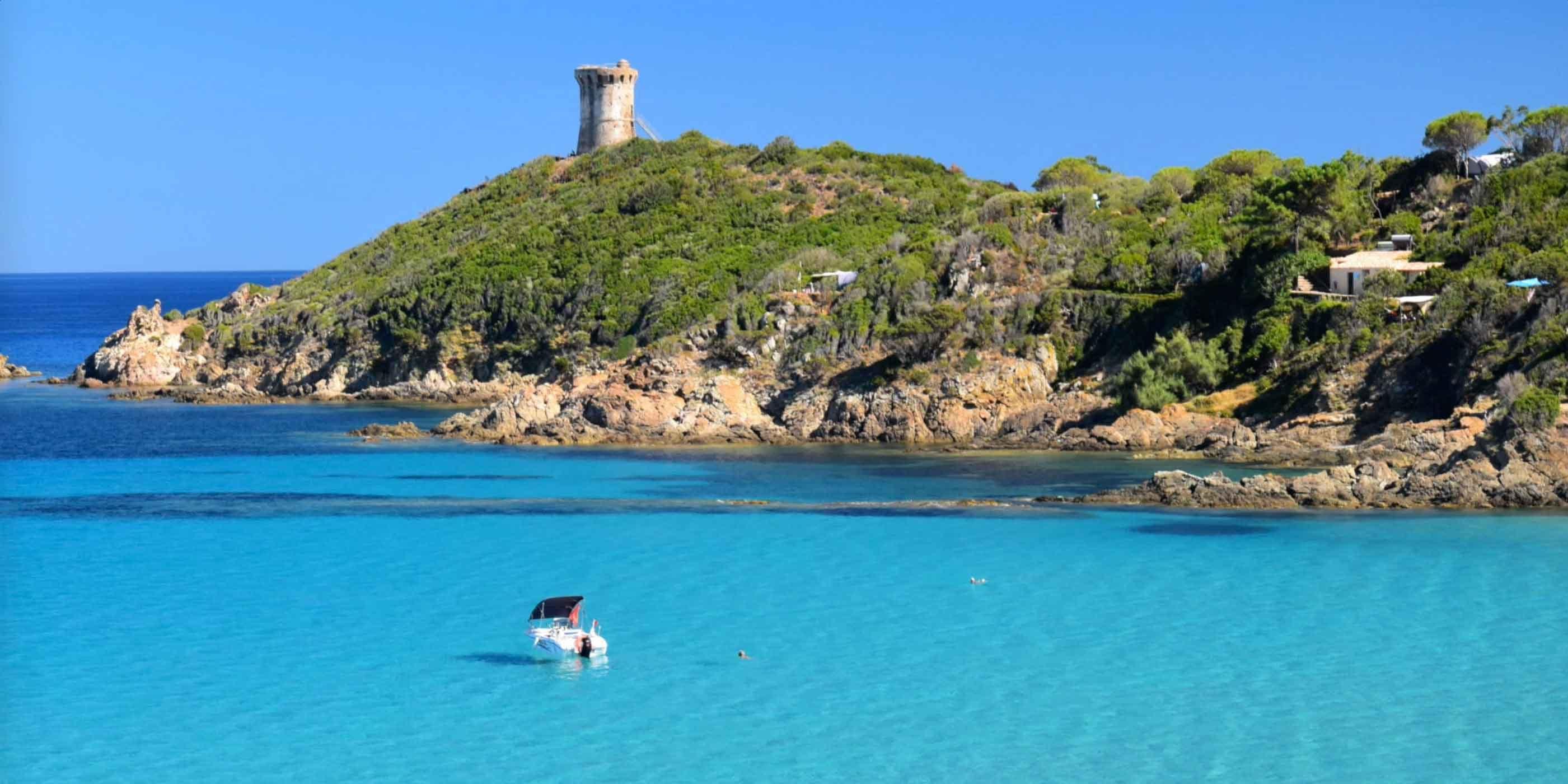 Corsica Frankrijk baai zee Genuese toren