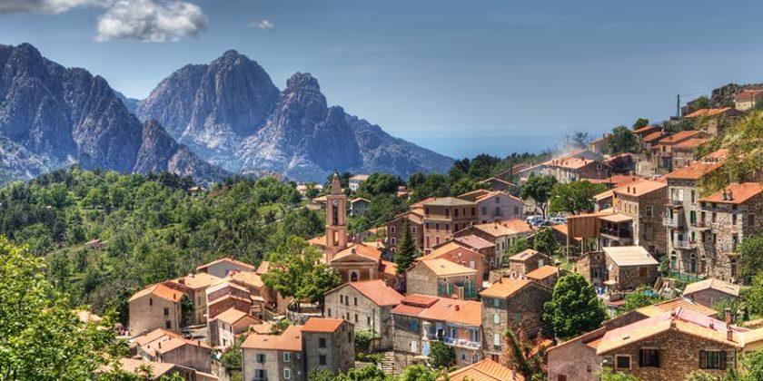 Evisa Corsica Frankrijk Gorges de Spelunca Porto stad klokkentoren