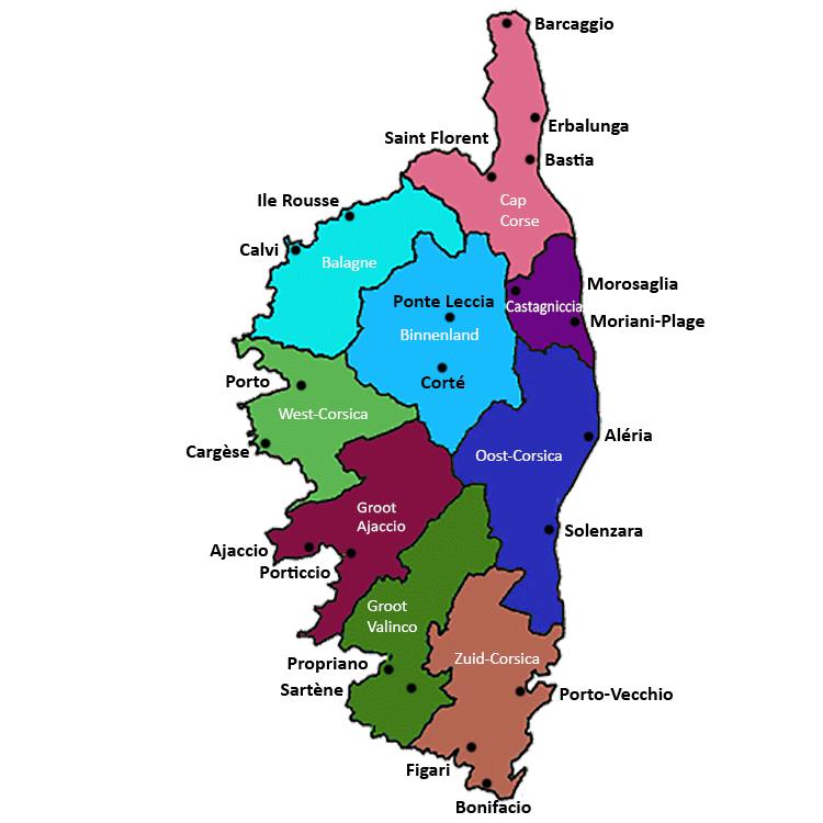 Kaart Corsica Frankrijk regio's SkiMaquis OntdekCorsica