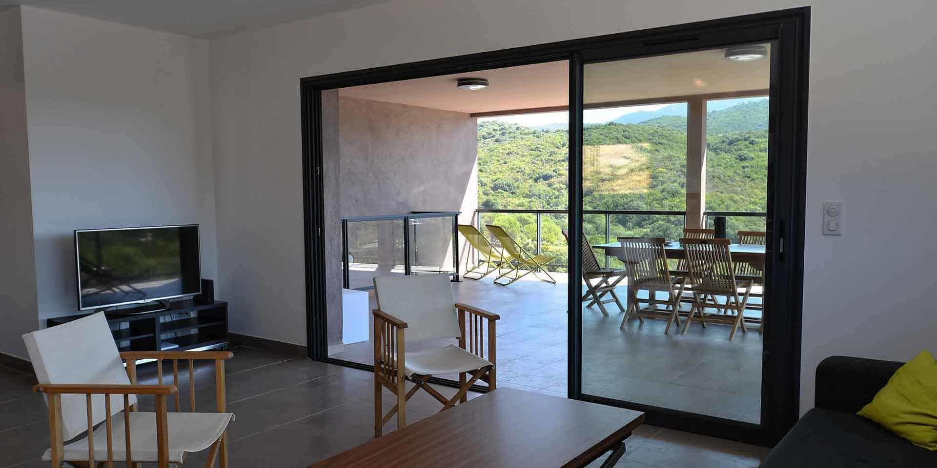 Les Villas de Lorello Porticcio Corsica Frankrijk villa Les Lentisques living terras