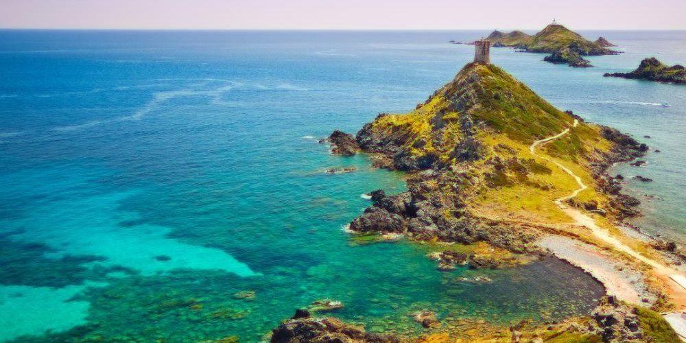 Iles Sanguinaires Ajaccio Corsica Frankrijk Genuese toren zee