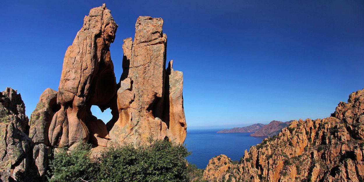 Calanques de Piana Corsica Frankrijk rotsformatie grillig hart zee