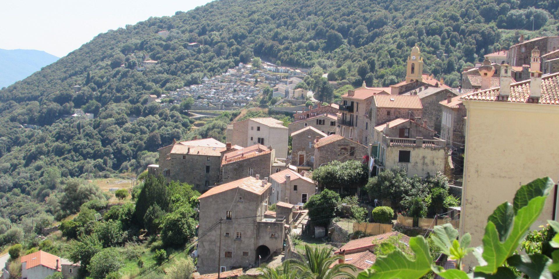 Olmeto Groot-Valinco Corsica Frankrijk Golf van Valinco heuvels bomen maquis dorp