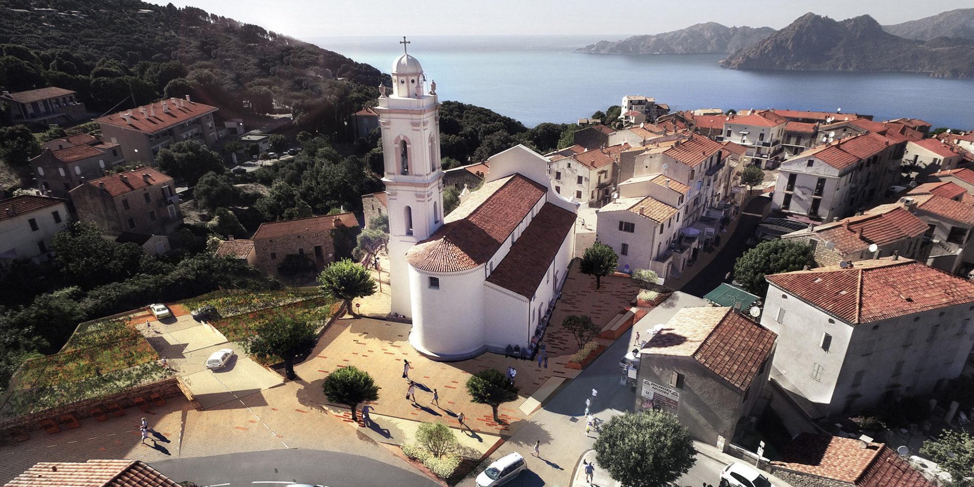 Hotel Capo Rosso Piana Calanques-de-Piana Corsica Frankrijk Piana-village kerk luchtfoto