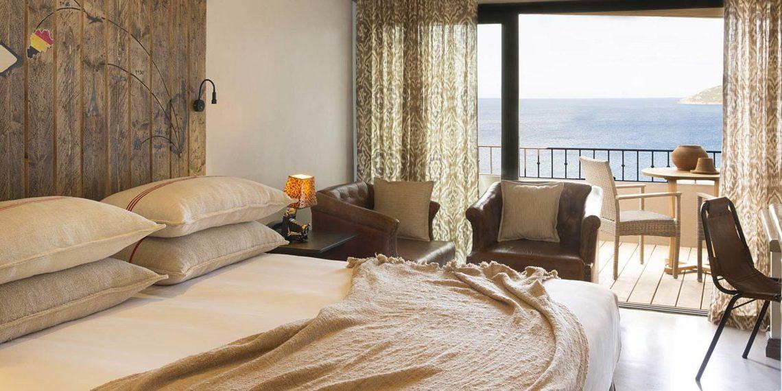 Hotel U Capu Biancu Bonifacio Corsica Frankrijk kamer schuifpui balkon zeezicht