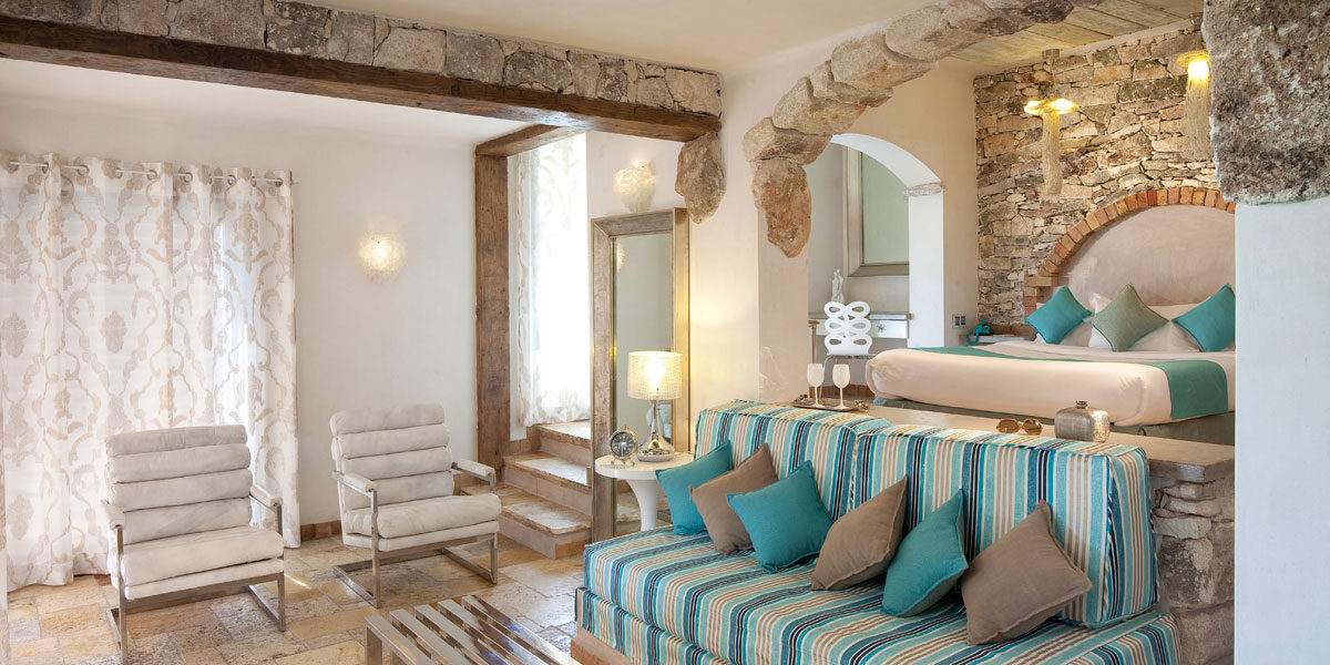 Hotel U Capu Biancu Bonifacio Corsica Frankrijk kamer suite natuursteen