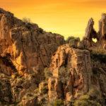 Calanches-de-Piana Corsica Frankijk westkust hartvormige-rots ondergaande-zon bergen spectaculair