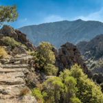 Scala-di-Santa-Regina Corsica Frankrijk centraal-Corsica trail bergpad GR20 wandelen hiking bergen bomen