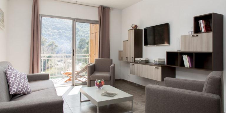 Residence Porto Marine Porto Oto Corsica Frankrijk calanches-de-Piana appartement living woonkamer bank fauteuil tv terras-met-zitje rivierzicht